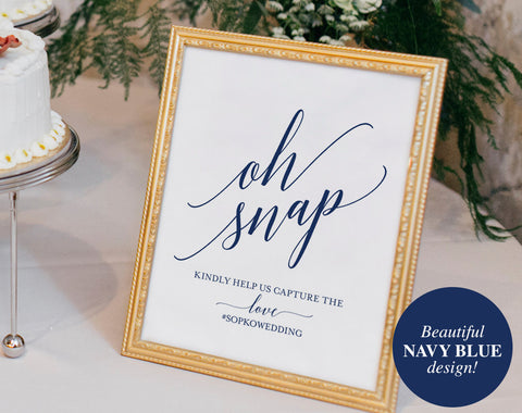 Navy Wedding Hashtag Sign, Oh Snap Wedding Sign, Instagram Sign, Share the Love, Wedding Printable, PDF Instant Download #BPB320_30 - Bliss Paper Boutique