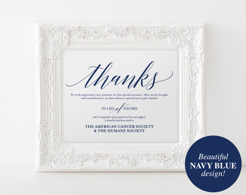In Lieu of Favors Sign, Donation Sign, Favors Sign, Lieu of Favors, Wedding Sign, Navy Wedding, Navy Blue, PDF Instant Download #BPB320_22 - Bliss Paper Boutique