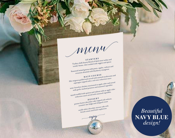 Wedding Menu Template, Wedding Menu Printable, Wedding Menu Cards, Table Menu, Menu Sign, Navy Blue Wedding, PDF Instant Download #BPB320_4B - Bliss Paper Boutique