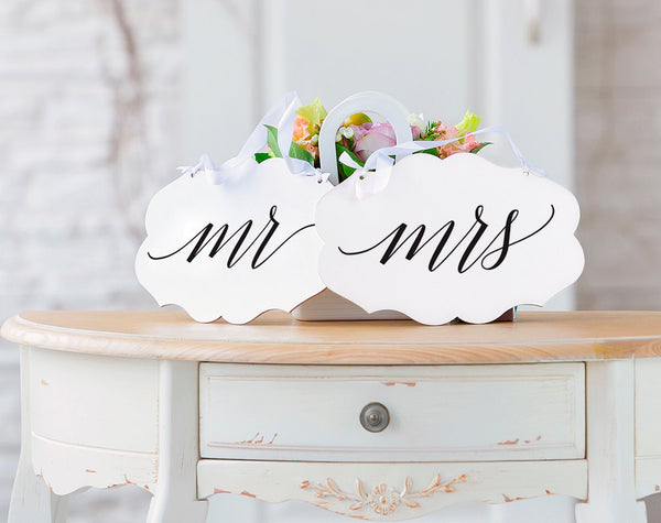Mr and Mrs Chair Signs, Mr and Mrs Wedding Signs, Wedding Chair Signs, Wedding Sign, Wedding Printable, PDF Instant Download #BPB310_23_1 - Bliss Paper Boutique