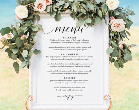 Wedding Menu Sign, Wedding Menu Board, Wedding Menu Poster, Wedding Printable, Wedding Sign, Template, PDF Instant Download #BPB310_55 - Bliss Paper Boutique