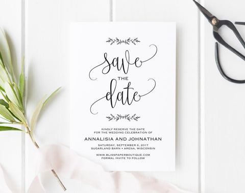 Save the Date Printable, Save the Date Template, Rustic Save The Date, Wedding Printable, Wedding Template, PDF Instant Download #BPB202_2 - Bliss Paper Boutique
