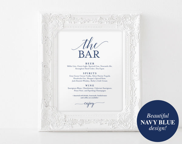 Bar Menu Sign, The Bar Sign, Wedding Bar Menu Printable, Wedding Sign, Wedding Bar Sign, Drink Menu, Navy, PDF Instant Download #BPB320_58 - Bliss Paper Boutique