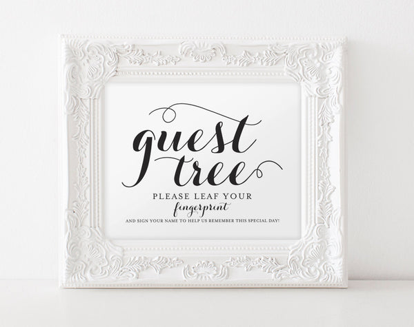 Guest Book Printable, Guest Book Tree Sign, Leaf Your Fingerprint, Guest Book Alternative, Wedding Sign, PDF Instant Download #BPB133_56 - Bliss Paper Boutique