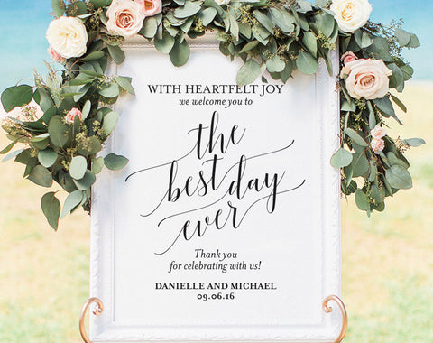Welcome Wedding Sign, Welcome Wedding Printable, Best Day Ever Sign, Wedding Sign, Wedding Poster, Template, PDF Instant Download #BPB310_59 - Bliss Paper Boutique