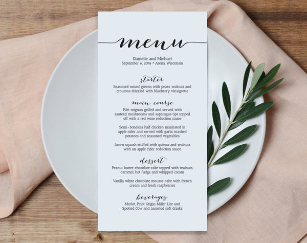 Wedding Menu Printable Template, Printable Menu, Menu Template, Kraft Menu, Dinner Menu Printable, PDF Instant Download #BPB165_4 - Bliss Paper Boutique