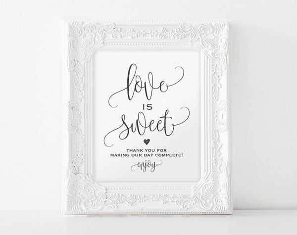 Love is Sweet Sign, Dessert Table Sign, Take a Treat Sign, Wedding Printable, Wedding Sign, Candy Bar Sign, PDF Instant Download #BPB203_43 - Bliss Paper Boutique