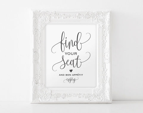 Find Your Seat Sign, Find Your Seat and Bon Appetit, Wedding Sign, Wedding Printable, Wedding Seating Sign, PDF Instant Download #BPB203_61 - Bliss Paper Boutique