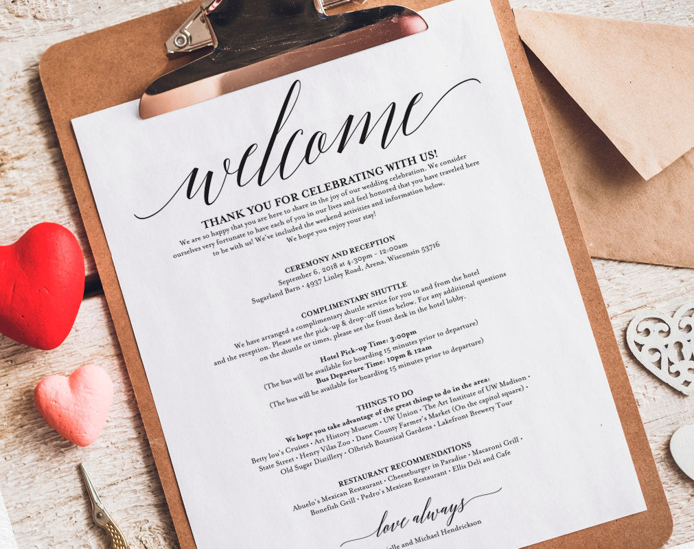 wedding itinerary welcome bag printable itinerary welcome letter wedding favor wedding