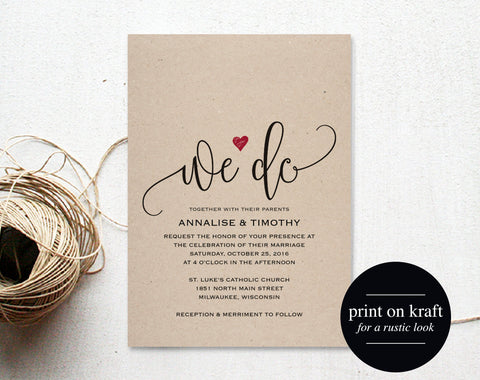 We Do Wedding Invitation Template, Rustic Kraft Invitation, Heart Wedding Invitation, Red, Kraft Printable, PDF Instant Download #BPB234_1 - Bliss Paper Boutique