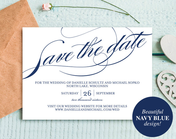 Navy Save the Date, Save The Date Printable, Save the Date Template, Navy Wedding, Winter Wedding, PDF Instant Download #BPB177_2 - Bliss Paper Boutique