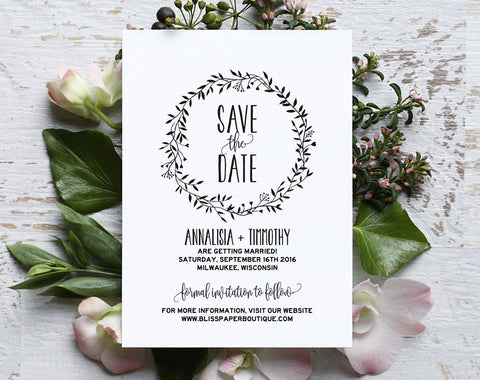 Save the Date Template, Save the Date Printable, Rustic Save the Date, Wreath, Template, Wedding Printable, PDF Instant Download #BPB224_2 - Bliss Paper Boutique