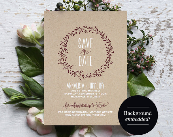 Save the Date Template, Merlot Save the Date, Rustic Save the Date, Wreath, Rustic Wedding, Printable, PDF Instant Download #BPB220_2 - Bliss Paper Boutique