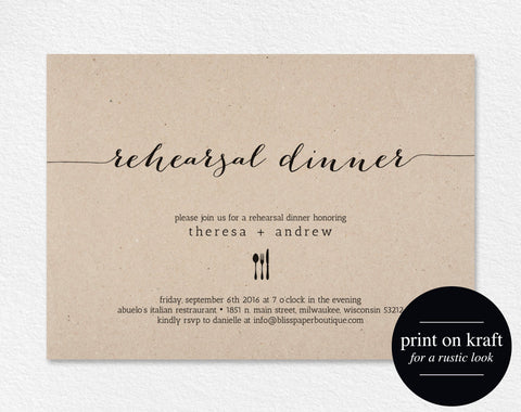 Rehearsal Dinner Invitation, Rehearsal Invitation, Dinner Rehearsal Invitation, Rehearsal Dinner Printable, PDF Instant Download #BPB165_9 - Bliss Paper Boutique