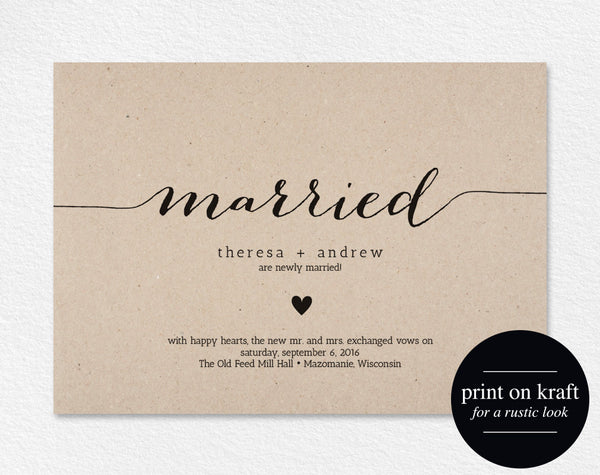 Just Married Wedding Announcement, Marriage Announcement, Elopement Announcement, Printable Template, PDF Instant Download #BPB165_49 - Bliss Paper Boutique