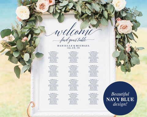 Navy Wedding Seating Chart Sign, Navy Seating Chart Printable, Seating Chart Template, Seating Board, PDF Instant Download #BPB320_52 - Bliss Paper Boutique