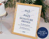 Signature Drinks Printable, Signature Drinks Sign, Signature Cocktails, Bar Sign, Navy Wedding Printable, PDF Instant Download #BPB320_36 - Bliss Paper Boutique