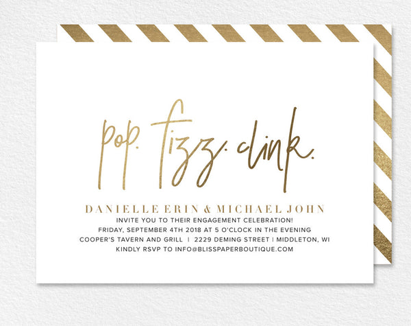 Engagement Party Invitation, Party Invitation, Engagement Party Printable, Pop Fizz Clink, Gold Invitation, PDF Instant Download #BPB323_8 - Bliss Paper Boutique