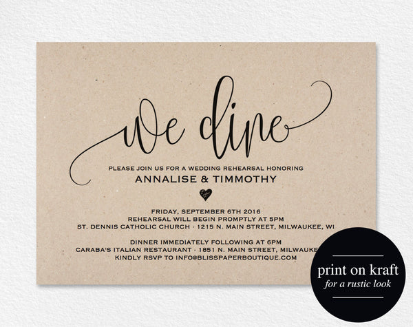 Rehearsal Dinner Invitation Printable, Rehearsal Dinner Invitation, Rehearsal Invitation, Wedding Rehearsal, PDF Instant Download #BPB203_9 - Bliss Paper Boutique