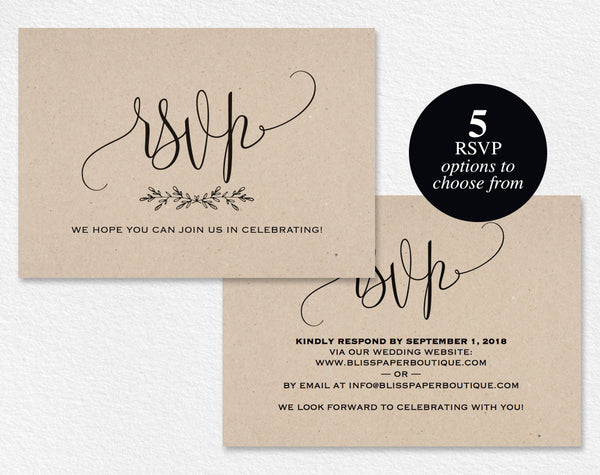 RSVP Postcard, RSVP template, wedding rsvp cards, wedding rsvp postcards, rsvp cards, rsvp online, PDF Instant Download #BPB202_1_1 - Bliss Paper Boutique