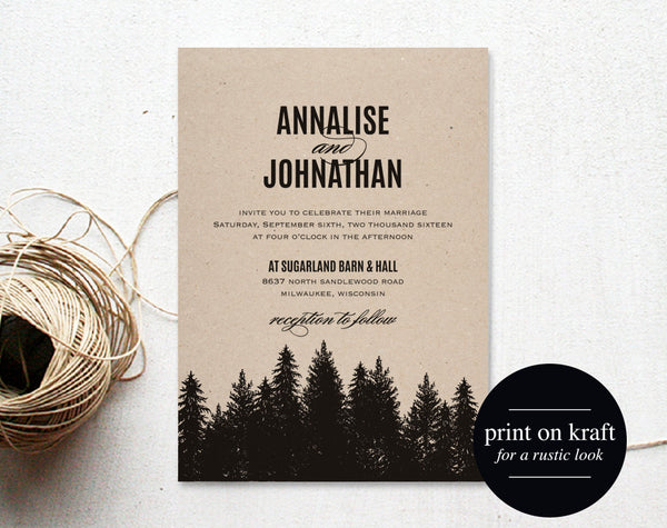 Rustic Wedding Invitation Printable, Wedding Invitation Template, Wedding Invite, Wedding Printable, PDF Instant Download #BPB180_1 - Bliss Paper Boutique