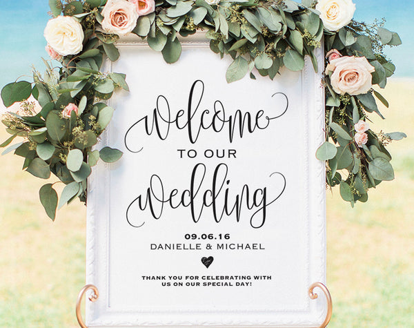 Welcome Wedding Sign, Welcome Wedding Printable, Wedding Sign, Wedding Poster Board, DIY, Template, PDF Instant Download #BPB203_59 - Bliss Paper Boutique