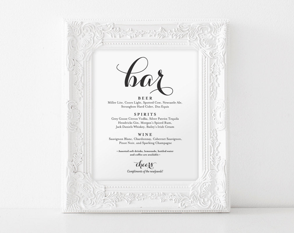 image relating to Wedding Sign Printable titled Bar Menu Signal, Bar Menu printable, Marriage ceremony Bar Indicator, Bar Indicator Printable, Marriage ceremony Indicator, Reception Indication, PDF Fast Obtain #BPB133_58