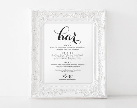 Bar Menu Sign, Bar Menu printable, Wedding Bar Sign, Bar Sign Printable, Wedding Sign, Reception Sign, PDF Instant Download #BPB133_58 - Bliss Paper Boutique