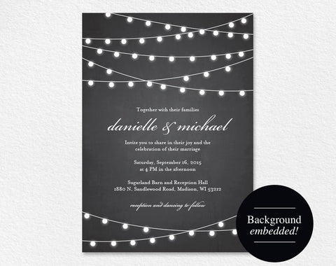 Rustic Wedding Invitation, Chalkboard Wedding Invitation, Wedding Printable, String Lights Wedding, DIY, PDF Instant Download #BPB188_1 - Bliss Paper Boutique