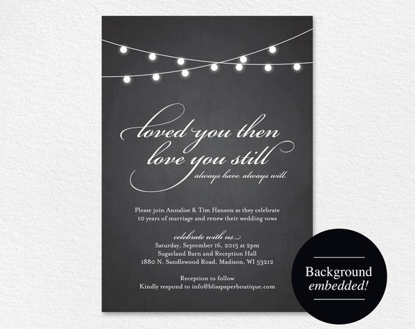 Vow Renewal Invitation, Vow Renewal Printable, Wedding Vow Renewal, Chalkboard Invitation, String Lights, PDF Instant Download #BPB188_68B - Bliss Paper Boutique