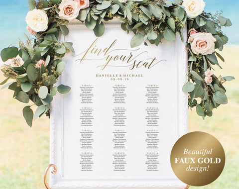 Gold Wedding Seating Chart, Seating Chart Printable, Seating Chart Template, Seating Board, Wedding Sign, PDF Instant Download #BPB324_52 - Bliss Paper Boutique