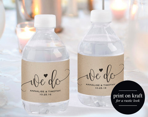 Wedding Water Bottle Label, Water Bottle Label Printable, Personalized Water Bottle Label Template, PDF Instant Download, #BPB203_31 - Bliss Paper Boutique