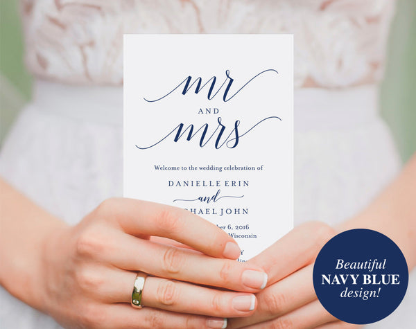 Wedding Program Template, Wedding Program Printable, Navy Blue Wedding Decorations, Wedding Template, PDF Instant Download #BPB320_3 - Bliss Paper Boutique