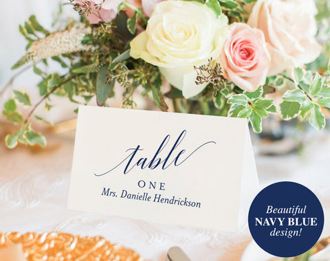 Wedding Place Cards, Wedding Place Card Printable, Place Card Template, Wedding Printable, Navy Blue, Blue, PDF Instant Download #BPB320_6 - Bliss Paper Boutique