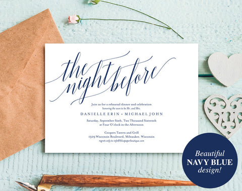 Rehearsal Dinner Invitation, Rehearsal Dinner Invitation Printable, Rehearsal Invitation, Navy Blue Wedding, PDF Instant Download #BPB320_9 - Bliss Paper Boutique