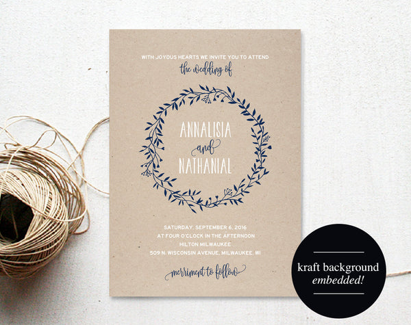 Wreath Wedding Invitation Template, Navy Blue Invitation, Floral, Rustic, Kraft Invitation, Cheap, Printable, PDF Instant Download #BPB219_1 - Bliss Paper Boutique