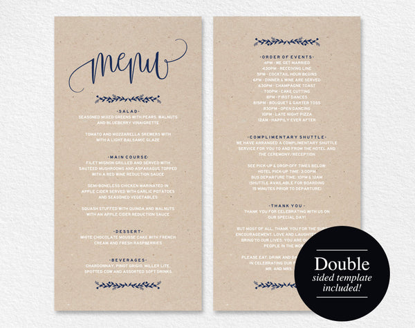 Wedding Menu Template, Navy Blue, Menu Cards, Printable Wedding Menu, Menu Printable, Rustic Wedding, PDF Instant Download #BPB219_4 - Bliss Paper Boutique