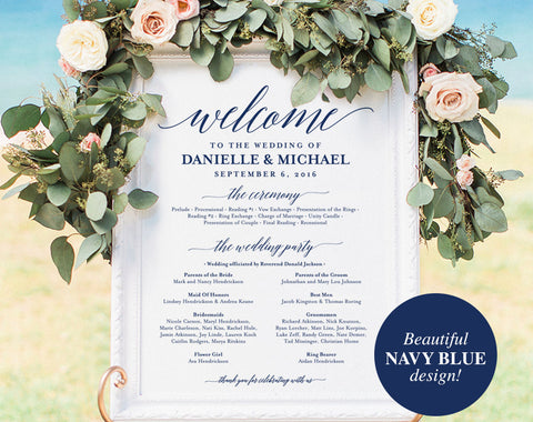 Wedding program Sign, Welcome Wedding Sign, Program Sign, Navy Wedding Sign, Wedding Poster, Template, PDF Instant Download #BPB320_60 - Bliss Paper Boutique