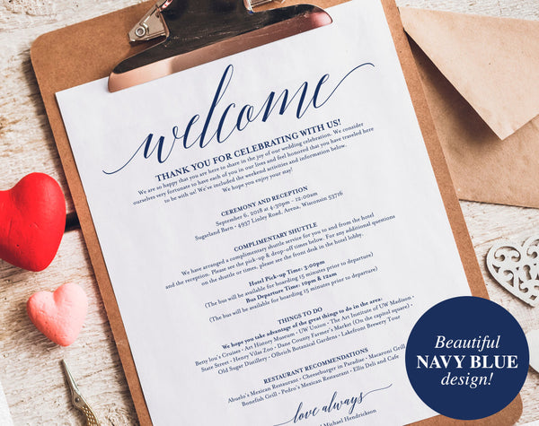 Navy Wedding Itinerary, Welcome Bag, Printable Itinerary, Welcome Letter, Favor, Blue Wedding Printable, PDF Instant Download #BPB320_53 - Bliss Paper Boutique