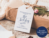 Welcome Wedding Tag, Wedding Welcome Bag Tag, Welcome Gift Tag, Best Day Ever, DIY, Navy Blue Wedding, PDF Instant Download #BPB320_24 - Bliss Paper Boutique
