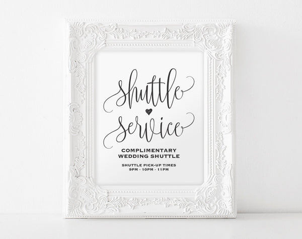 Shuttle Service Sign, Shuttle Service Printable, Wedding Sign, Wedding Printable, Wedding Shuttle Sign, PDF Instant Download #BPB203_78 - Bliss Paper Boutique