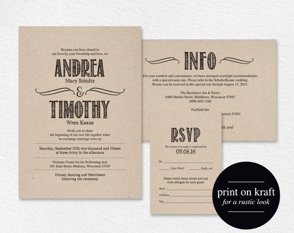 Wedding Invitation Template, Rustic Wedding Invitation Editable Template, Invitation Set, Invitation Suite, PDF Instant Download #BPB58_1 - Bliss Paper Boutique