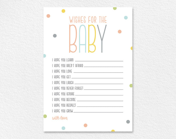 Wishes For Baby, Well Wishes, Printable, Shower Wishes, Gender Neutral, Baby Shower Game, Baby Shower Ideas, PDF Instant Download #BPB93_4 - Bliss Paper Boutique