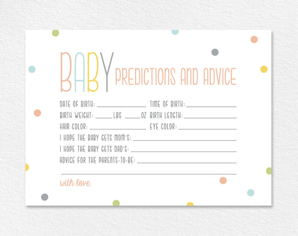 Predictions for Baby, Baby Predictions, Baby Shower Game, Baby Shower Ideas, Gender Predictions, PDF Instant Download #BPB93_6 - Bliss Paper Boutique