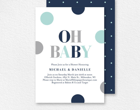 Baby Shower Invitation, Oh Baby, Baby Boy Shower, Baby Shower Invite, Baby Shower Printable, Baby Boy, PDF Instant Download #BPB94_1B - Bliss Paper Boutique