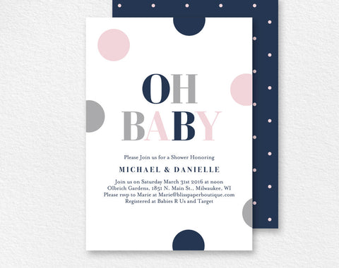 Baby Shower Invitation, Oh Baby, Baby Girl Shower, Baby Shower Invite, Baby Shower Printable, Baby Girl, PDF Instant Download #BPB94_1G - Bliss Paper Boutique