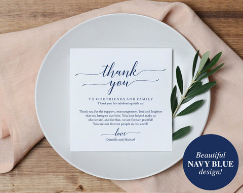 Wedding Thank You Card, Thank You Printable, Wedding Table Thank You, Navy Wedding, Navy Blue, Template, PDF Instant Download #BPB320_14 - Bliss Paper Boutique