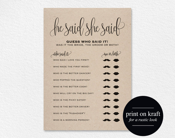 He Said, She Said, Bridal Shower Game, Wedding Shower Ideas, Bridal Shower Ideas, Printable, DIY, PDF Instant Download #BPB203_12G_1 - Bliss Paper Boutique