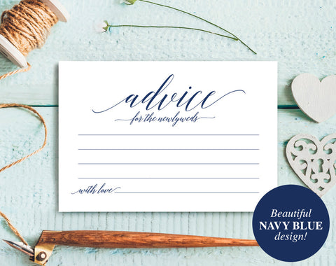 Wedding Advice Cards, Advice Cards, Marriage Advice, Advice Printable, Guest Book Alternative, Navy Wedding, PDF Instant Download #BPB320_15 - Bliss Paper Boutique