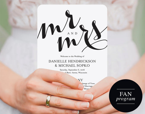 Wedding Fan Program, Wedding Template, Wedding Printable, Fan Program, Program Template, Wedding Program, PDF Instant Download #BPB133_3_1 - Bliss Paper Boutique